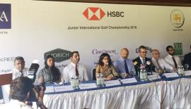 Council member Sri Lanka Golf Union Niloo Jayatilleke, president of the Sri Lanka Golf Union, Air Chief Marshal Harsha Abeywickrema and Chief Executive Officer HSBC, Mark Prothero at the media launch