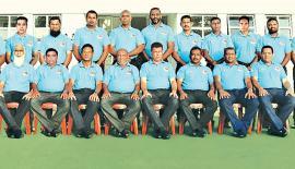 Seated from left: S.H.M. Kuthubdeen, Fazeer Laheer (manager), Ashok Pieris (captain), Hafiz Preena (coach), Ananda Silva (vice-captain), Indrawansa Herath, D.C. Perera and Duncan Devendra. Standing from left: Marlon Jacobs, Manuja Gunawardena, Mahir Mohideen, Godwin Solomons, Lloyd Fredrick, Mario Joseph, Saman Vandalan, Linus Xavier, Anura Bandara, Shihar Aneez, and Nadith Kudagama