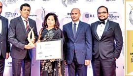 From left: Hiran Gunasekera, Nalin Herath and Mrs Harshani Herath - General Manager, Chairman and Director of Home Lands Skyline (Pvt) Ltd., respectively, with General Manager, UrbanSpace Interiors (Pvt) Ltd., Chartered Architect Chanaka Ariyarathne.