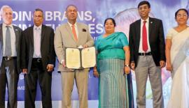 (starting from left) – Tim Sutton (Representative, UNICEF Sri Lanka); K.D.S. Ruwanchandra (Secretary, Ministry of National Policies and Economic Affairs; Hon. Mangala Samaraweera (Minister of Finance and Mass Media); Ms. Ashoka Alawatte (Secretary, Ministry of Women and Child Affairs); Janaka Sugathadasa (Secretary, Ministry of Health, Nutrition and Indigenous Medicine); Ms. Badra Vithanage (Director – Education for All Branch of the Ministry of Education.