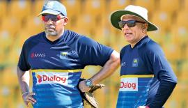 Head coach Chandika Hathurusingha (right) and batting coach Thilan Samaraweera at the R Premadasa Stadium nets yesterday in preparation for the fifth and final ODI against South Africa on Sunday. – AFP