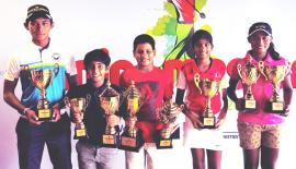 NDB Private Wealth Junior Masters Golf Championship 2018 Individual Event and School Team Event winners Vinod Weerasinghe, Kvahn Tejwani, Reshan Algama, Kaya Daluwatte and Taniya Balasuriya with their trophies