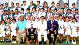 The Zahira Tennis Academy players: Front row standing from left: Ahamed Looth Zaneek, Thabish Mujeeb, Umar Miqdad Natheer, Yoosuf Ansary, Haroon Rishard, Nuhman Rizwan, Ahamed Yusuf Zaneek and Shakir Irshan. Front row seated from left: Ganendran Subramaniam (coach ), MSM Faiz (chairman Sports Committee ), Trizviiy Marikkar (principal) and Muhiseen Ariff (prefect of games). Middle row standing from left: MNM Zameer, MNM Nijad, KR Aabidurrahman, Ayman Irfan, Abdul Khaliq, Yusuf Farzan, Nazhan Noushad, Ammaar