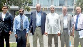 Pathfinders Bernard Goonetilleke, Luxman Siriwardena and Admiral Prof. Jayanath Colambage  with the Delhi Policy Group's Hemanth K. Singh, Biren Nanda and team member.
