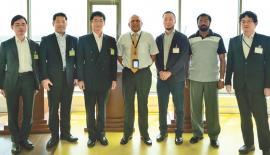From left: Yusuke Tanaka, MOFA, Toru Kodama, Japan Coast  Guard, Shogo Yoshitake, Director, Southwest Asia Division, MOFA, Tissa  Wickramasinghe, COO, HIPG, Capt. Atsuhiro Moroe, Embassy of Japan in SL,  Admiral Jayantha de Silva, Chief Security Officer, HIPG and Itsuki  Sugihara, MOD.