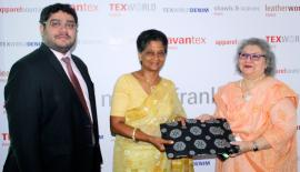 A token of appreciation being presented to EDB Chairperson Indira Malwatte. Pic: Chaminda Niroshana