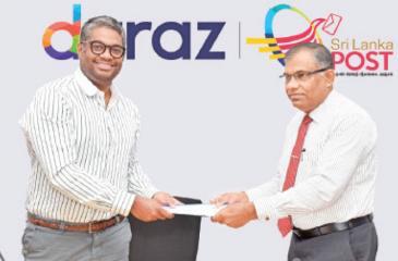 Managing Director of Daraz Sri Lanka,  Rakhil Fernando and Post Master General  Ranjith Ariyaratne after signing of MoU.
