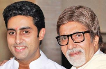 Amitabh Bachchan with Abhishek Bachchan after the press conference at their residence.