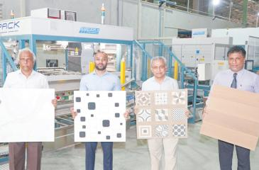 From left - General Manager Thajitha Perera, Chief Operating Officer Ahmed Shafee, Head of the manufacturing plant Ranjith Munamalpe, General Manager Sales and Marketing, Niroshan Pananwala in the factory.