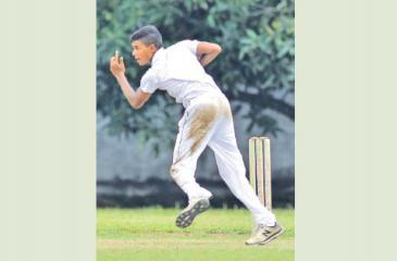 Dunith Wellalage of St. Joseph's College bowls to capture six wickets Pic: Hirantha Gunathilake