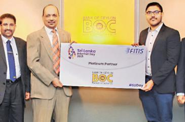 Bank of Ceylon Chairman KanchanaRatwatte presents the sponsorship cheque to Jiffery Zulfer, President FITIS Digital Services Chapter. (From left): The Bank's Chief Marketing Officer, Chief Information Officer R. Bakmedeniya and the Bank's General Manager D.P.K. Gunasekera, Vice President Digital Services Chapter Channa De Silva and CEO, FITIS, Aruna Alwis are also in the picture.