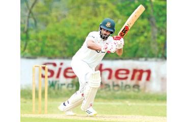 Tamim Iqbal plays a shot (SLC pic)