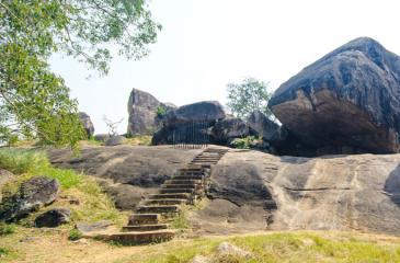 The massive rock boulder of Vessagiriya at Anuradhapura
