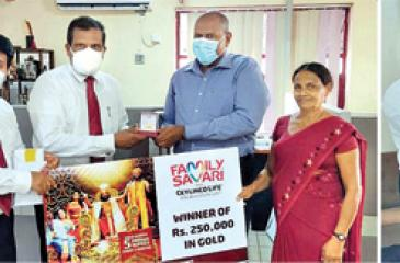 The latest winner of Rs 1 million in gold (left) and winners of Rs 250,000 and Rs 100,000 in gold.