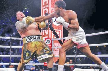Anthony Joshua knocks out Andy Ruiz in this file photo
