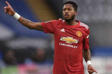 Manchester United's Fred complains