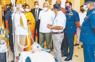 President Gotabaya Rajapaksa takes a close look at the equipment