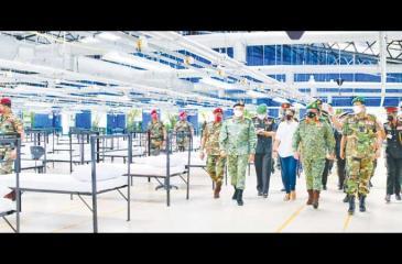 Army Commander Gen. Shavendra Silva arrives at the improvised hospital