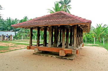 The Panavitiya Ambalama stands on four solid rock stones planted on the ground at Matiyagane