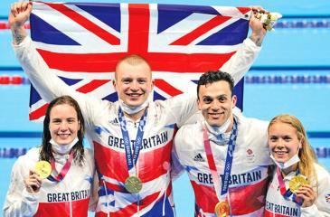 The history-making British mixed relay quartet of Kathleen Dawson, Adam Peaty, James Guy and Anna Hopkin