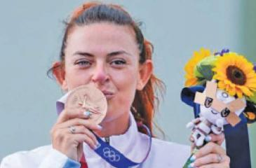 San Marino's Alessandra Perilli celebrated her country's first medal