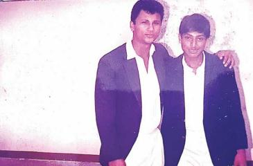Hishaam Ousman (left) with Zulki Hamid (who also passed away) during their cricketing days at Royal