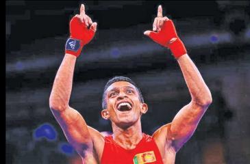 Sajeewa Nuwan reacts after winning