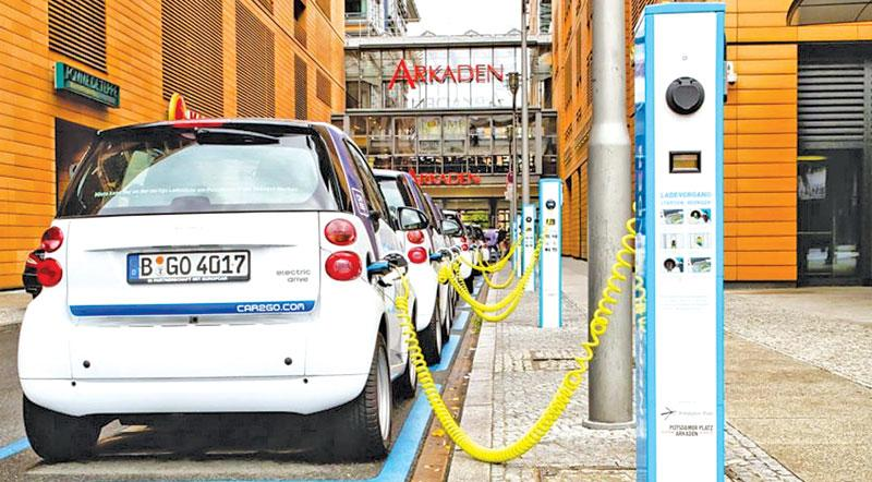 An electric cars' charging station