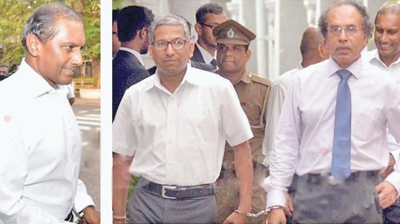 L-R: PTL directors Geoff Aloysius, Pushya Gunewardane and former Deputy Governor  of CBSL P. Samarasiri were arrested on Monday