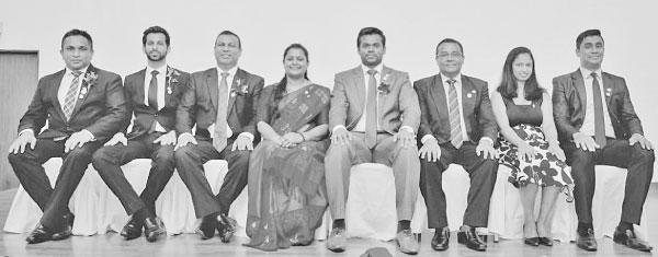The new executive committee of Ceylinco Life's Toastmasters Club (from left) Suneth Samarakoon - Treasurer, Dileepa Delwala - Vice President, Deshapriya Vipulatheja - Vice President, Shyamala Devi Arulanandam - President, Chulaka Kumarasinghe - Immediate Past President, Kamal Rupasiri - Vice President, Education, Keshani Samarakoon - Secretary and Nalin Dhanushka - Sergeant-at-Arms.