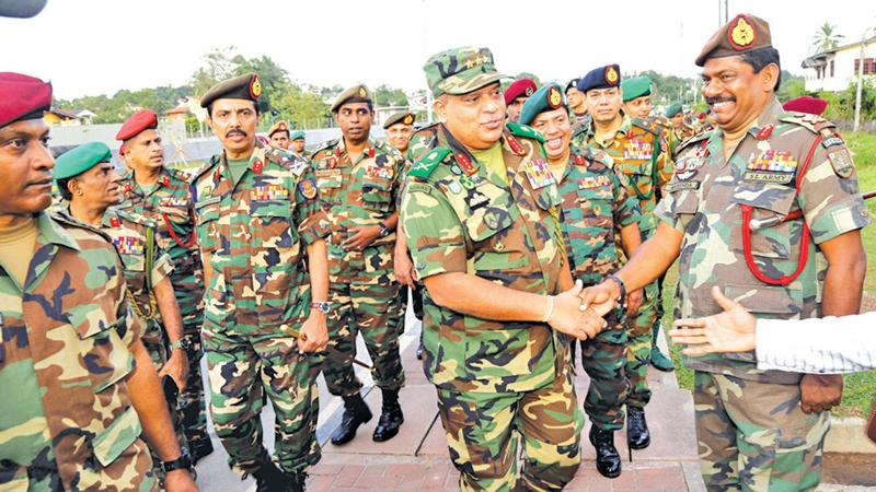 Army Commander, Lieutenant General Shavendra Silva on arrival at Defence Headquarters