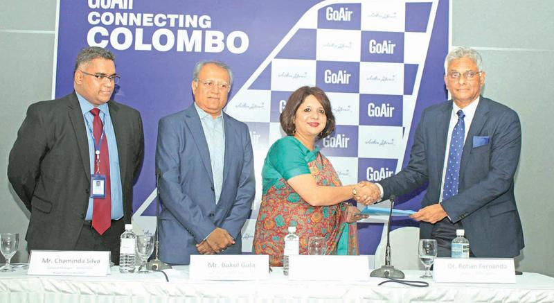At the launch of GoAir flights to Colombo