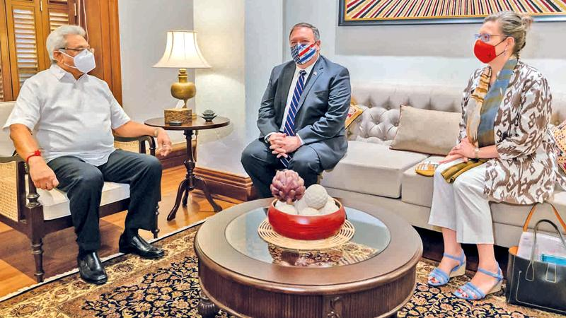 President Gotabaya Rajapaksa and Secretary Pompeo in discussion
