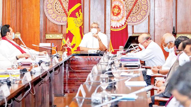 President Gotabaya Rajapaksa chairs a meeting of Ministers and officials