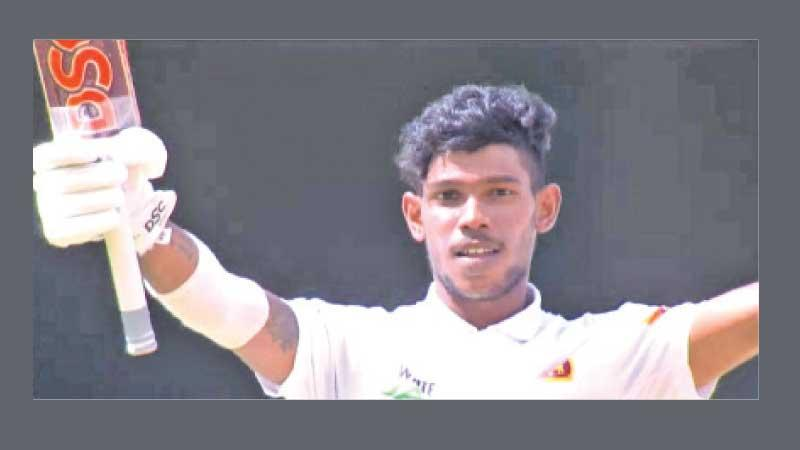 Pathum Nissanka Silva acknowledges his century in his first Test