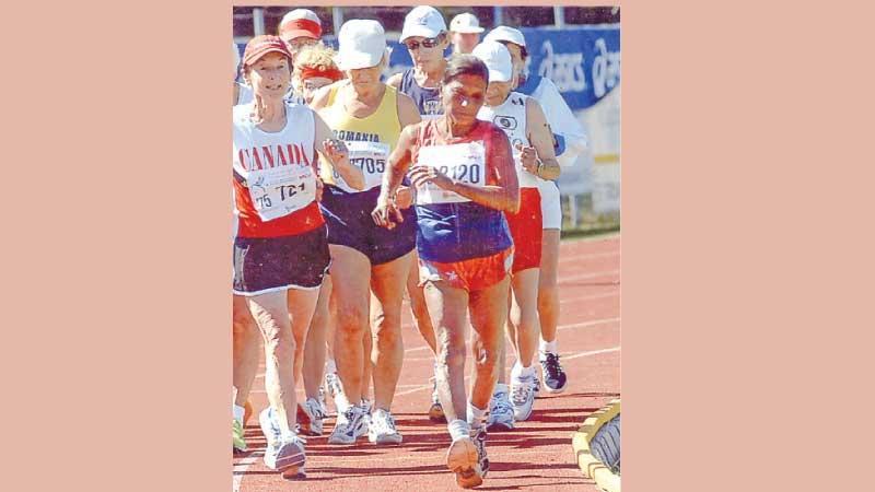 Mallika Sachithananda (right) in one of her race walks