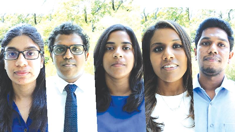 From left: Ashani Abayasekara, Kithmina Hewage, Harini Weerasekera, Chaturga Karunanayake and Tharindu Udayanga.