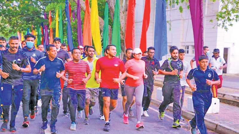 Sports Minister Namal Rajapaksa and his wife Limini set off at the inaugural Family Run Saturday from the Race Course ground yesterday morning