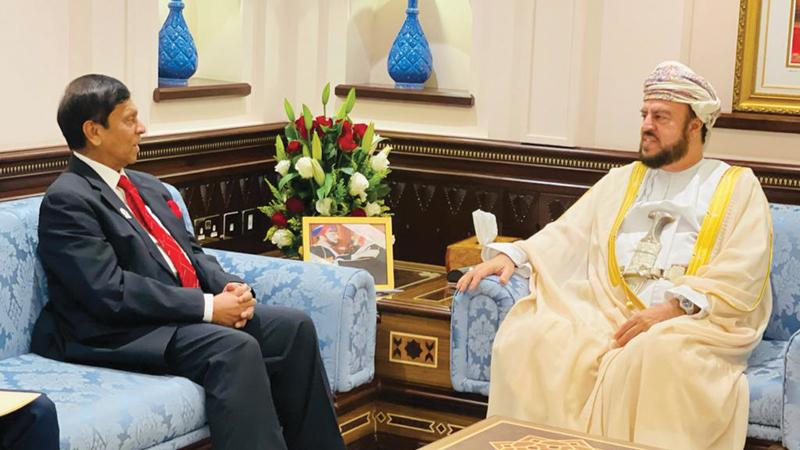 State Minister Ajith Nivard Cabraal with the Deputy Prime Minister for International Relations and Cooperation Affairs of the Sultanate of Oman, His Highness Sayyid Assad bin Tarik al Said.