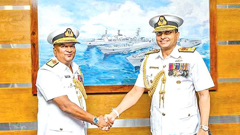 Rear Admiral Senarath Wijesooriya with Navy Commander Vice Admiral Nishantha Ulugetenne