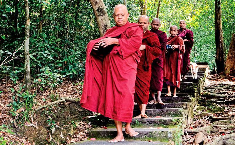 The meditative bhikkhus walk in single file for pindapatha at Dombagaskanda hermitage in Ingiriya