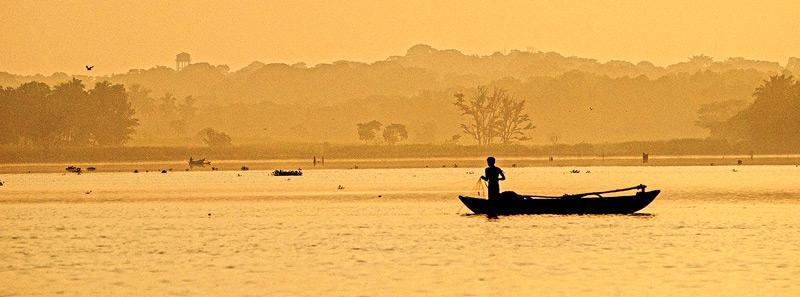 The breath taking view of dawn over Mahagama Wewa