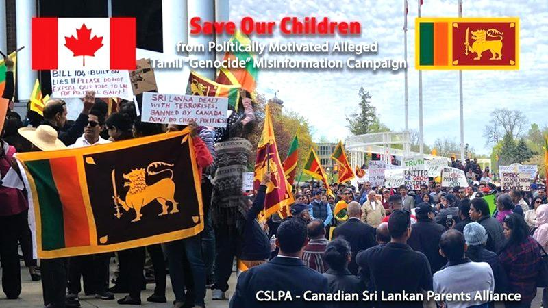 Sri Lankan Canadians demonstrate against the Ontario Genocide Bill 104.