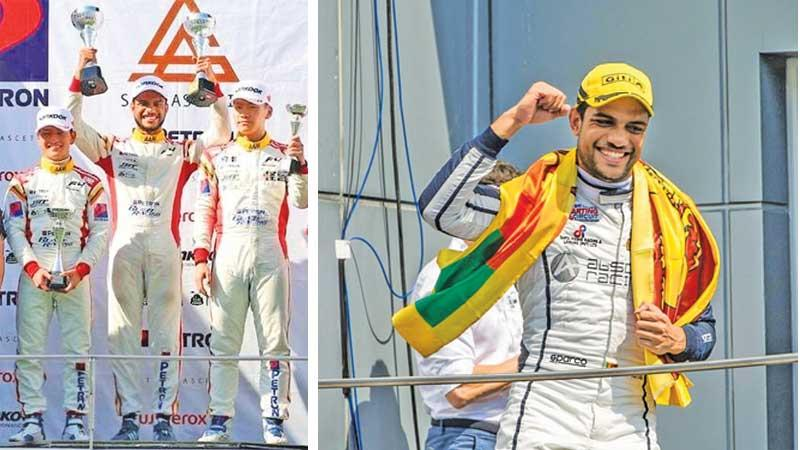 Eshan Pieris on the podium at his debut in the F4 South East Asia in 2017 in the Sepang F1 Circuit-Eshan Pieris after winning an F3 Asian Winter Series Race in 2019 in Malaysia