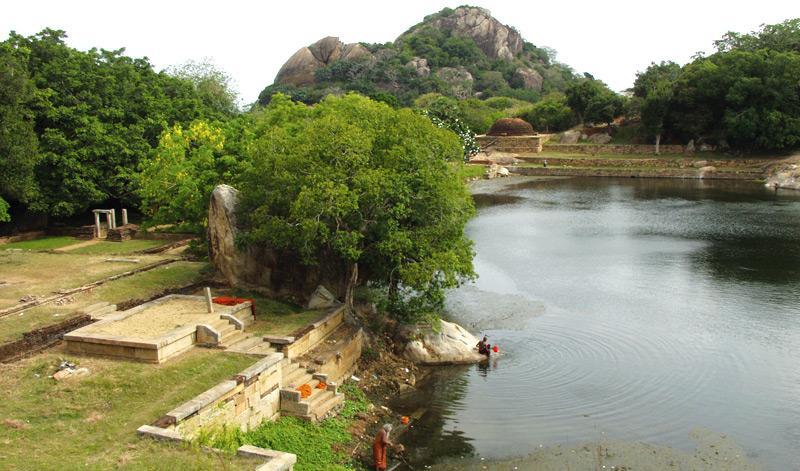 Ruins around the Kaludiya Pokuna on Western slopes of the Mihintale range