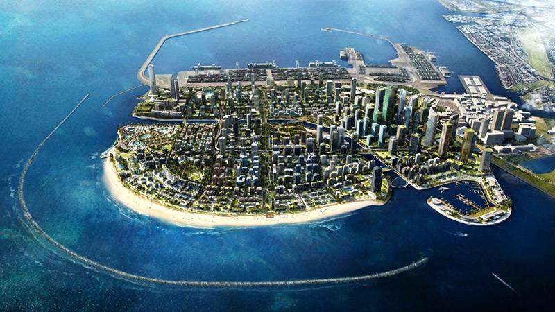 Futuristic view of Port City Colombo