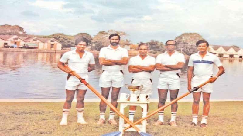 1982 Sri Lanka Army Rowing Team (from left) Lt V Welikala, 1 CR, Major PMK Wickramaratne, SLASC, Major TD Rajapaksa, SLCMP, Major OKP Goonasekara SLAOC (Team Captain), Capt. PP Fernando 1CR, Absent – Lt N Fernando, 1CR