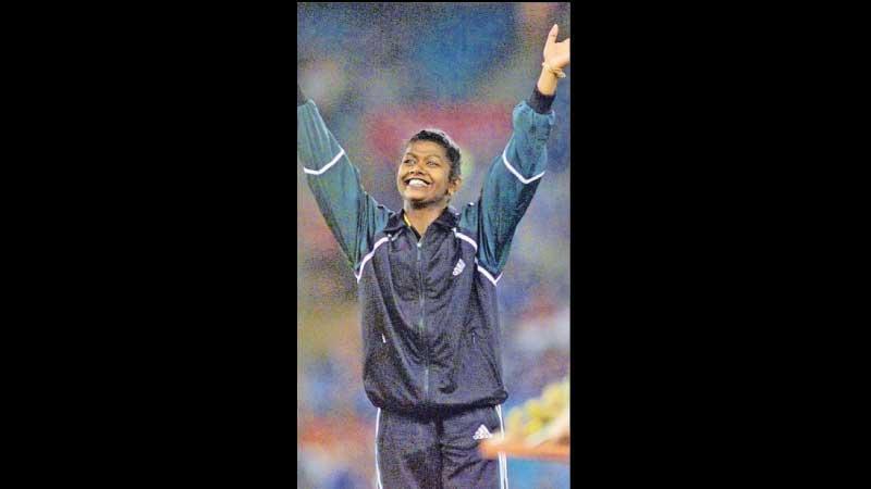 Susanthika Jayasinghe on the Victory Podium of Sydney 2000 Olympic Games