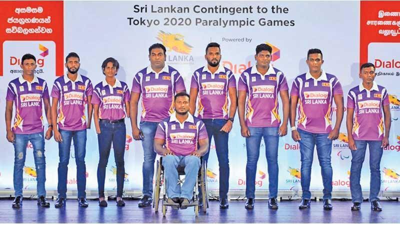 Sri Lankan team for the Tokyo Paralympics: Standing from left: Ranjan Dharmasena, Maduranga Subasinghe, Kumudu Priyanka, Sampath Hettiarachchi, Dinesh Priyantha Herath (Capt), Palitha Bandara, Samitha Dulan, Sampath Bandara  and Mahesh Jayakody (seated)