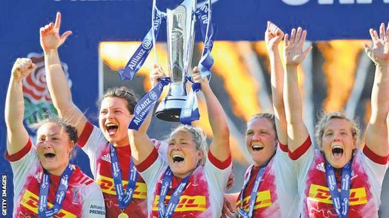 Harlequins' Rachael Burford lifted the Allianz Premier 15s Trophy in May